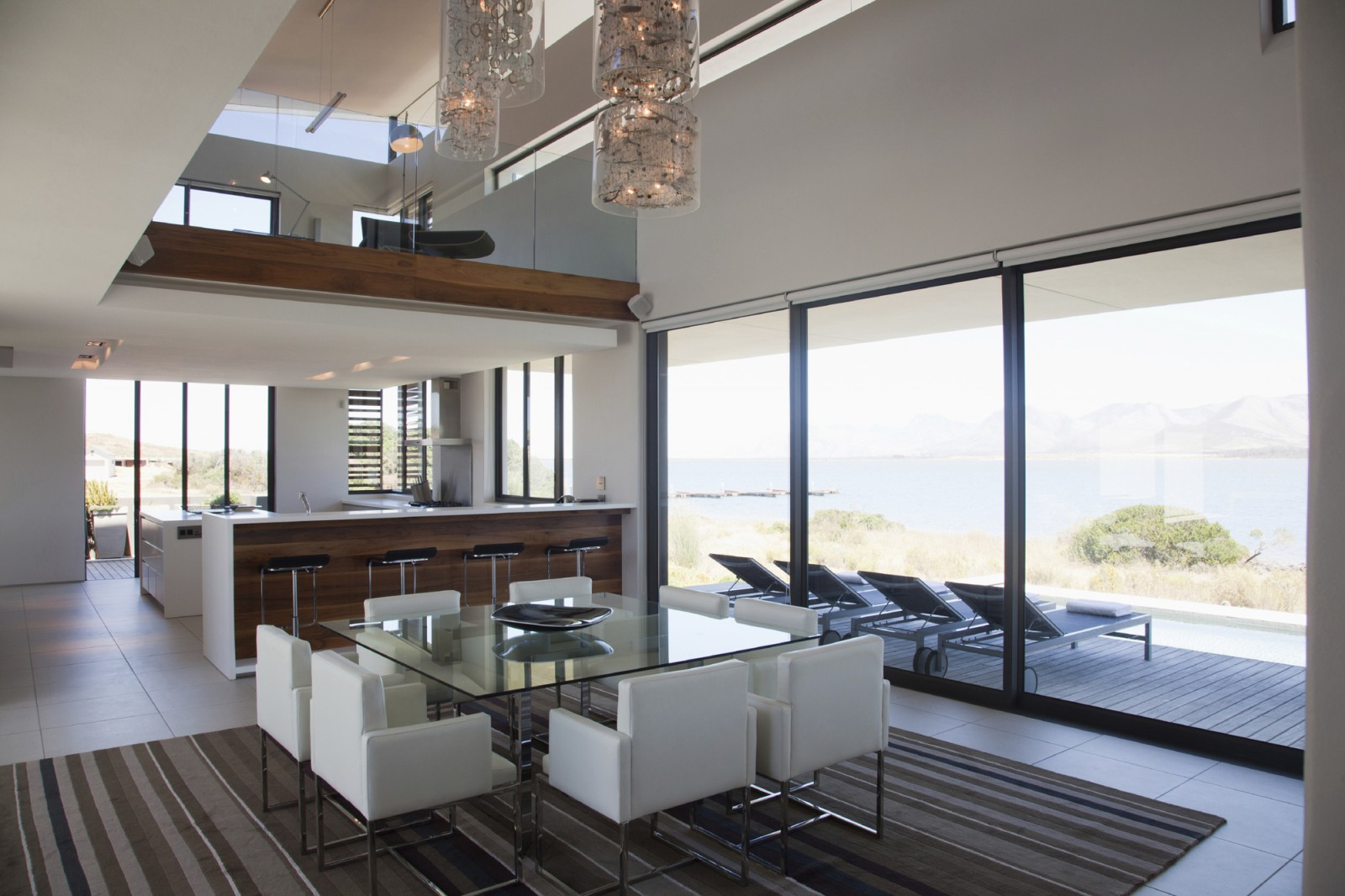 Living room with glass walls